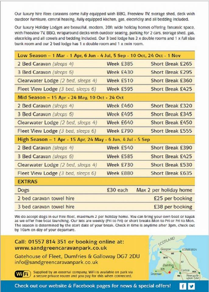 2019 Holiday Hire Tariff