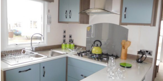Well equipped kitchen in 2017 Carnaby Lifestyle static caravan