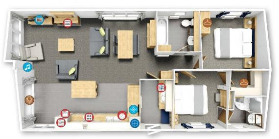 Floorplan of 2 bedroom 2018 Willerby Pinehurst lodge