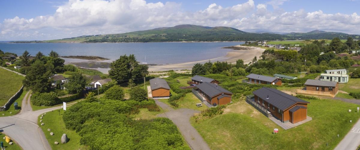 Panoramic view of Sandgreen Caravan Park, South Scotland